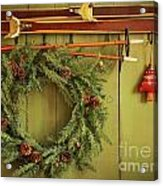 Old Pair Of Skis Hanging With Wreath  Acrylic Print
