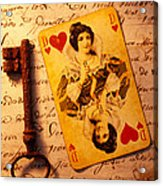 Old Playing And Key Acrylic Print by Garry Gay