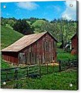 Old Red Barn Acrylic Print by Kathy Yates