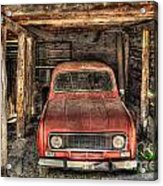 Old Red Car In A Wood Garage Acrylic Print