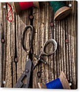 Old Scissors And Spools Of Thread Acrylic Print by Garry Gay