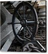 Old Ships Wheel, Chains And Wood Planks Acrylic Print