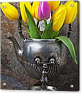 Old Tea Pot And Tulips Acrylic Print by Garry Gay