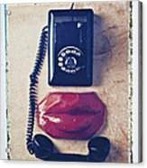 Old Telephone And Red Lips Acrylic Print
