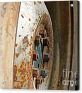Old Tractor Wheel Acrylic Print