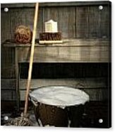 Old Wash Bucket With Mop And Brushes Acrylic Print