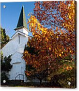 Old White Church In Autumn Acrylic Print