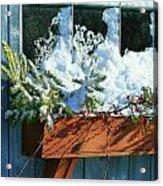 Old Window In Winter Acrylic Print by Sandra Cunningham