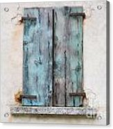 Old Window With Blue Shutte Acrylic Print