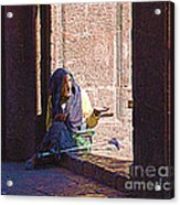 Old Woman In Centro Acrylic Print
