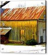 Old Yellow Barn Acrylic Print