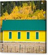 Old Yellow School House With Autumn Colors Acrylic Print