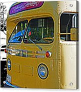 Old Yellow Transit Bus Abstract Acrylic Print