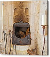 Olde Worlde Fireplace In A Cave  Acrylic Print