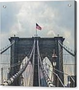 Ole Glory Over Brooklyn Bridge Acrylic Print