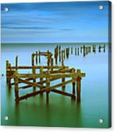 Ols Swanage Pier Acrylic Print by Mark Leader