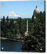 Olympia Wa Capitol And Mt Rainier Acrylic Print