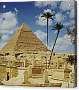 One Of The Pyramids Seen Behind An Arab Acrylic Print by Maynard Owen Williams