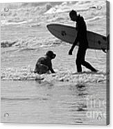 One Surfer And His Dog Acrylic Print