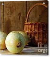 Onions On The Counter Acrylic Print by Sandra Cunningham
