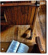Open Book On Church Pew Acrylic Print