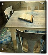 Open Book On Old Table Acrylic Print