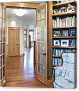 Open French Doors And Home Library Acrylic Print by Andersen Ross