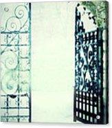Open Iron Gate In Fog Acrylic Print