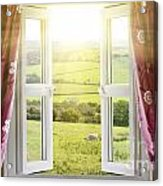 Open Window With Countryside View Acrylic Print