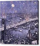 Opening Of The Great New York And Brooklyn Bridge And Grand Display Of Fire Works Acrylic Print
