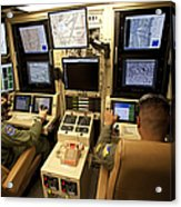 Operators Control Uavs From A Ground Acrylic Print by HIGH-G Productions