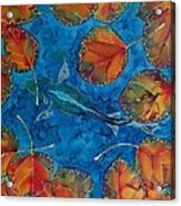 Orange Leaves And Fish Acrylic Print by Carolyn Doe