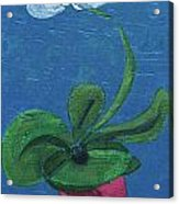 Orchid Inspired Floral On Blue 1 Acrylic Print