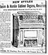 Organ Ad, 1870 Acrylic Print