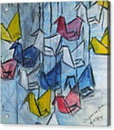 Origami For Peace Acrylic Print by Michel Croteau