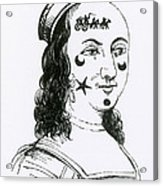 Ornamental Patches On Face, 17th Century Acrylic Print