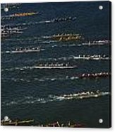 Outrigger Canoes Race From Molokai Acrylic Print