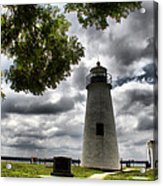 Overcast Clouds At Turkey Point Lighthouse Acrylic Print