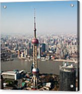 Overhead View Of Oriental Pearl Tower In Shanghai Acrylic Print