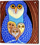 Owl And Owlettes Acrylic Print