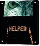 Owl Eye Zipper Sign Times Square Acrylic Print