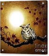 Owl In Maple Leaves Acrylic Print