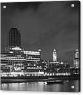 Oxo Tower Night  Bw Acrylic Print