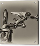 Packard Angel Hood Ornament In Sepia Acrylic Print