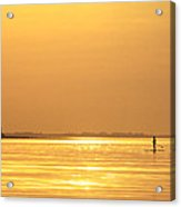 Paddle Boarder At Dawn Acrylic Print
