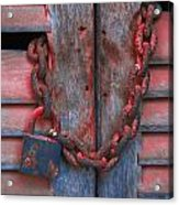 Padlock And Chain On Wooden Door Acrylic Print
