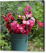 Painted Bucket Of Flowers Acrylic Print