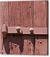 Painted Red Iron Hinge On A Red Barn Door Acrylic Print