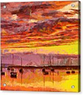 Painting With Boats At Sunset Tnm Acrylic Print
