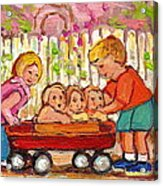 Paintings For Children - Boy - Girl - Red Wagon And Puppies Acrylic Print